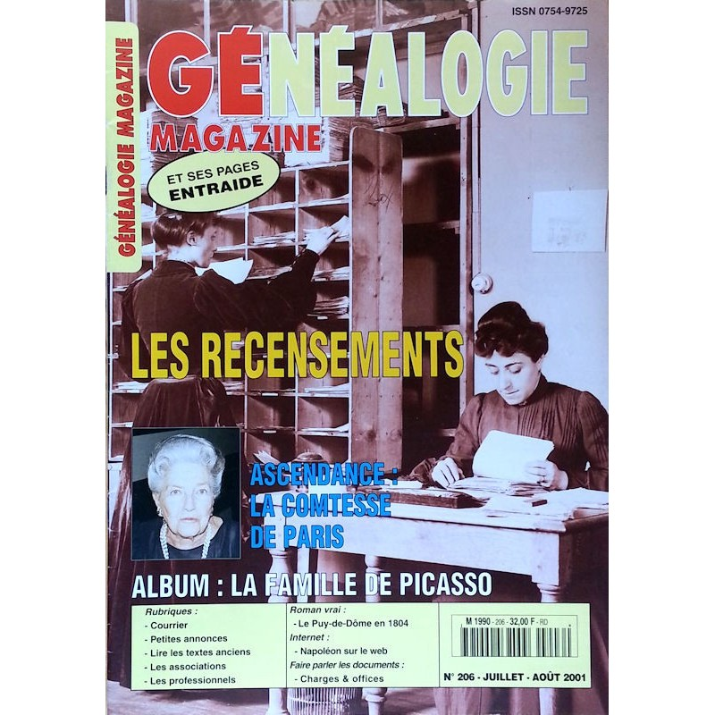 Généalogie Magazine n°206 - Juillet - Août 2001